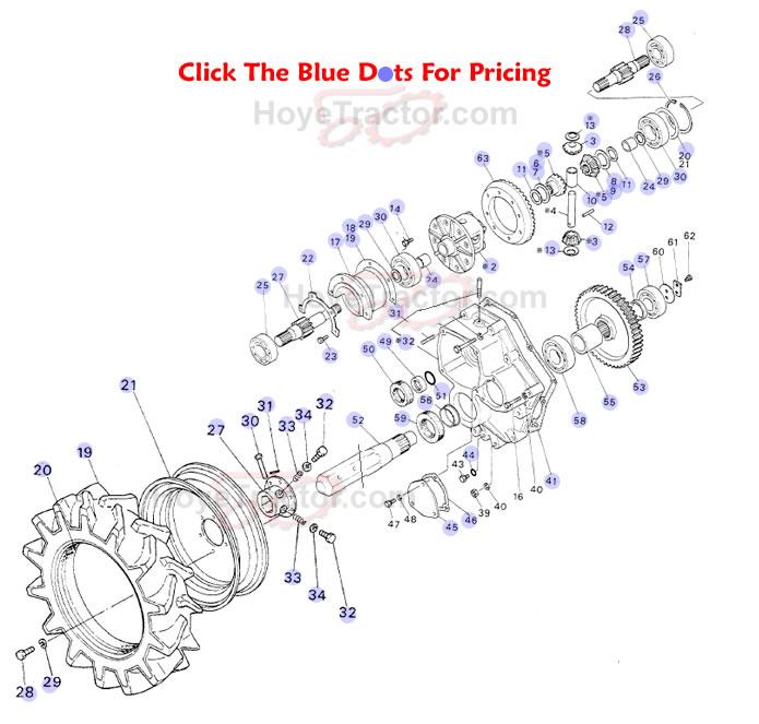 Yanmar 1300d Tractor Parts : Rear axle ^ yanmar tractor parts