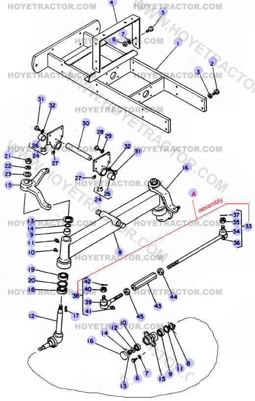 1500 Tractor Parts : Front axle wd yanmar tractor parts